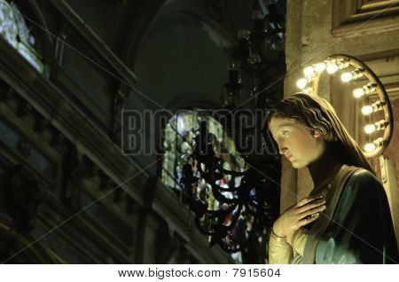 Virgin marie on a catholic church