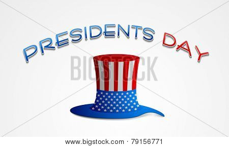 Presidents Day celebration with glossy United State American flag color hat on shiny grey background.