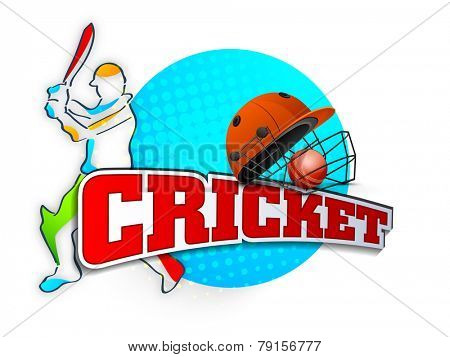 Cricket batsman in playing action with helmet, ball and text on stylish sky blue background.
