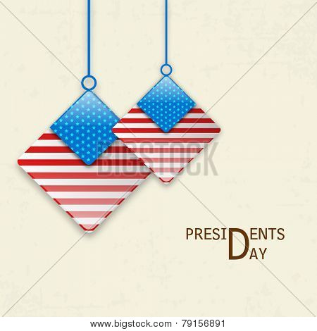 Presidents Day celebration with glossy square shape hangings in United State American flag color.