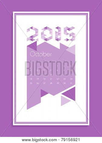 New Year 2015 calendar design for October month.