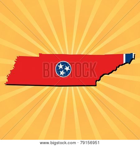 Tennessee map flag on sunburst illustration