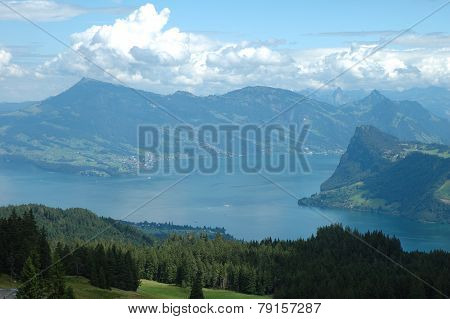 Lake And Mountains Nearby Luzern In Switzerland