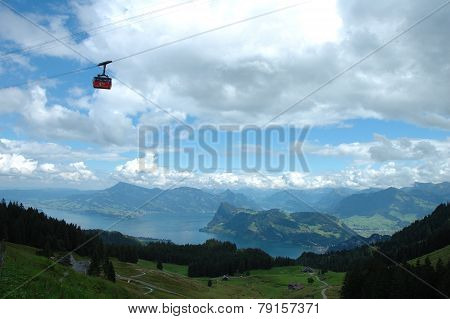 Gondola Lift, Lake And Mountains Nearby Luzern In Switzerland