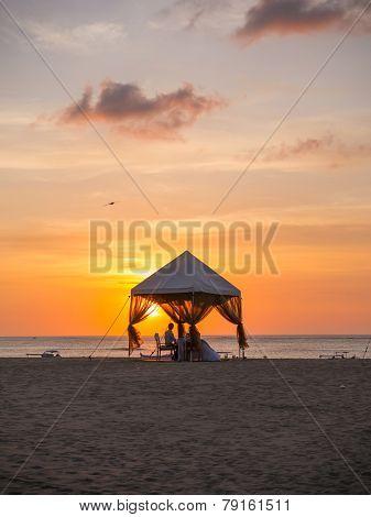Romantic dinner on the beach in Bali