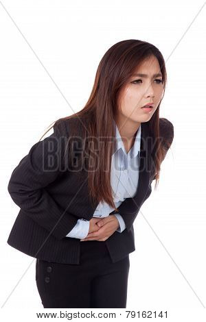 Young Asian Businesswoman Got  Stomachache