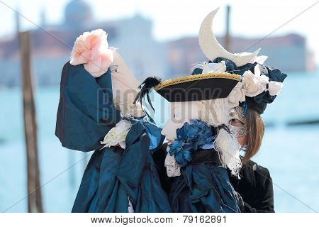 Woman Playing Two Puppets In Venice