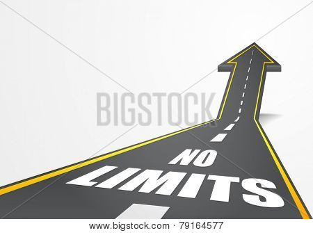 detailed illustration of a highway road going up as an arrow with no limits text, eps10 vector