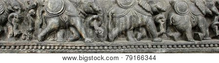 KOLKATA, INDIA - NOV 24: Elephants in a row, from 10th century found in Belvedere now exposed in the Indian Museum in Kolkata, on Nov 24, 2012
