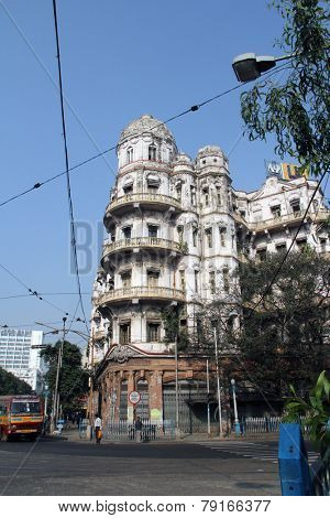 KOLKATA, INDIA - NOV 25: Esplanade mansions built during the British colonial era when Kolkata was the capital of British India on Nov 25, 2012 in Kolkata, India.