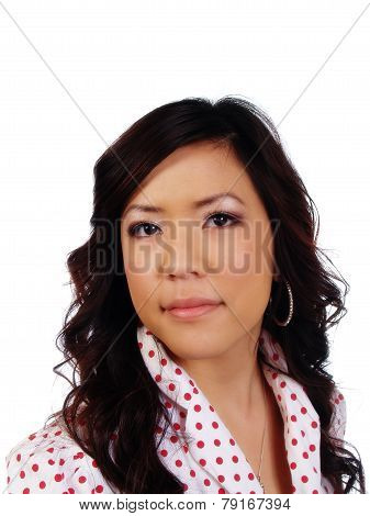 Portrait Young Attractive Asian Woman Polka Dot Shirt