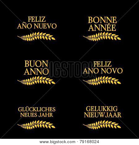 Happy New Year Laurels In Different Languages