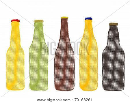 Different Kinds Of Beer Bottles Pencil Style