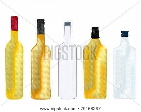 Different Kinds Of Spirits Bottles Pencil Style