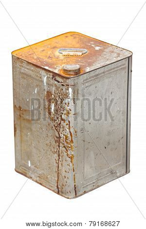 Rusty Zinc Container Isolated On White.