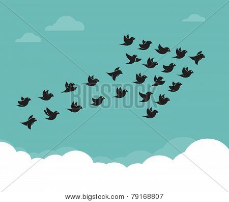 Flock Of Birds Flying In The Sky In An Arrow, Teamwork Concept