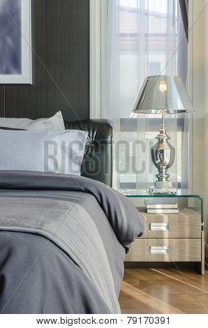 Luxury Lamp On Table In Bedroom