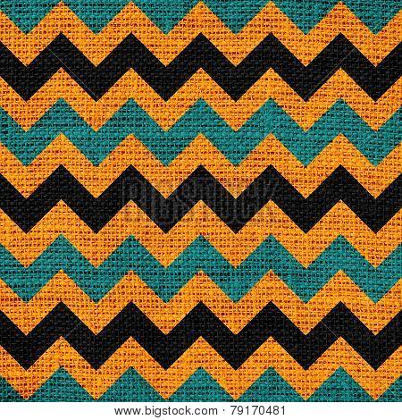 Seamless colorful chevron zigzag burlap jute fabric background