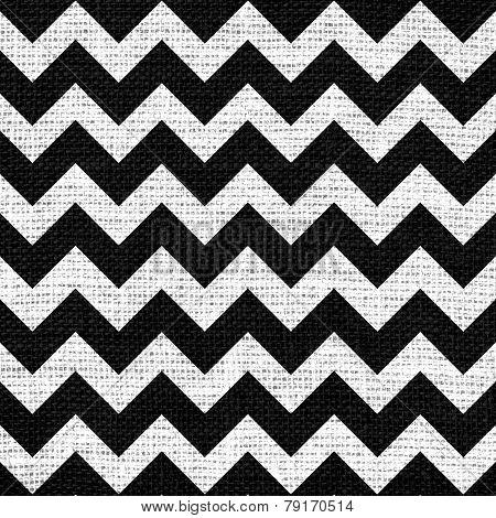 Seamless black white chevron zigzag burlap jute fabric background