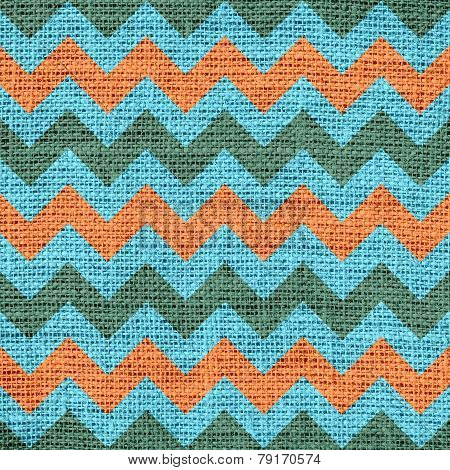 Seamless mint coral chevron zigzag burlap jute fabric background
