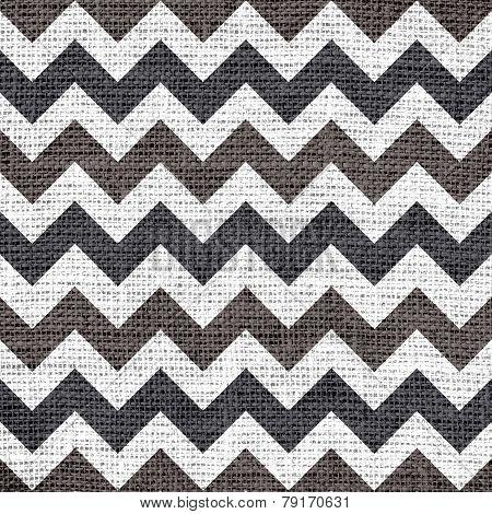 Seamless chevron zigzag burlap jute fabric background