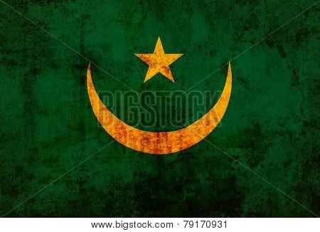 Mauritania Flag on old paper