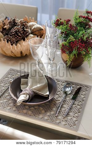 Earth Tone Table Set In Dinning Room