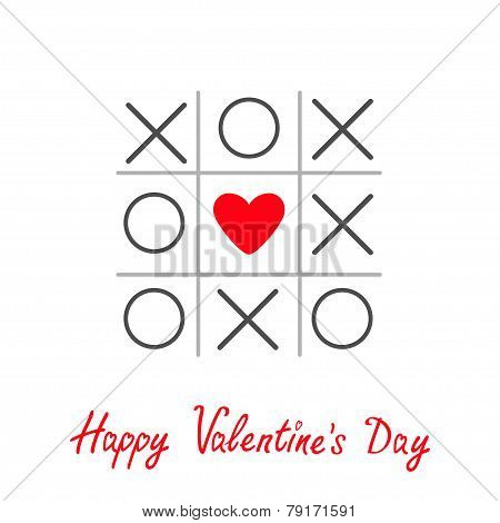Tic Tac Toe Game With Cross And Heart Sign Mark Happy Valentines Day Card Red Flat Design
