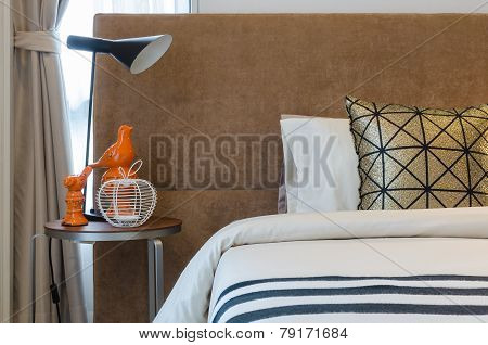 Single Bed With Lamp In Bedroom