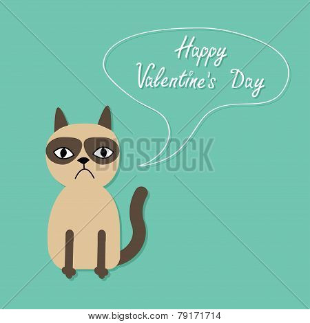 Cute Sad Grumpy Siamese Cat And Speech Bubble In Flat Design Style Happy Valentines Day Card