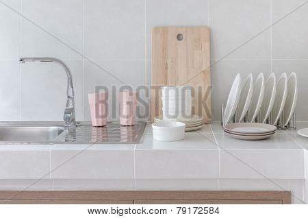 White Clean Counter In Kitchen With Utensil