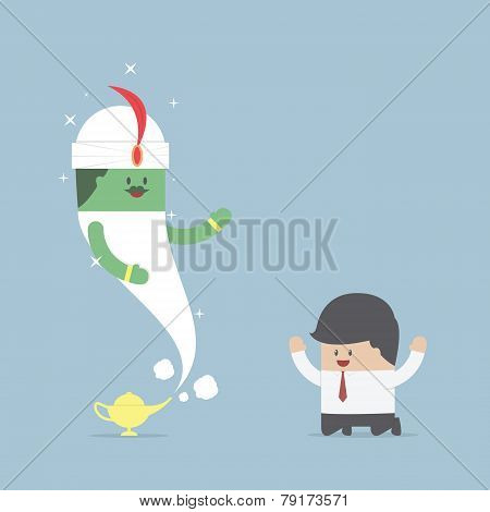Businessman And Genie Giant In The Magic Lamp