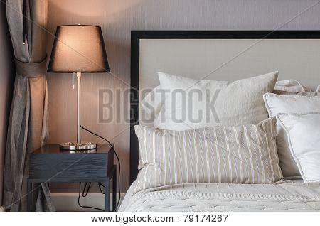 Luxury Bedroom With Lamp