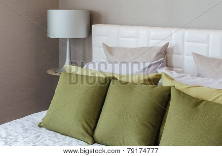 Modern Bedroom With Green Pillows