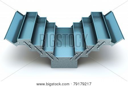 Blue cantilever tool box