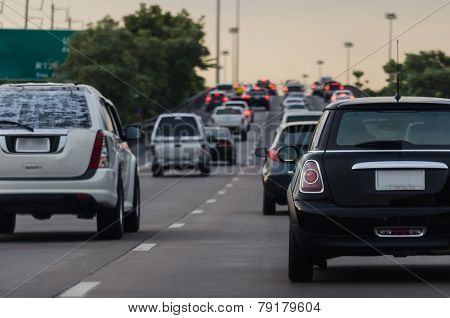 Traffic Jam With Many Cars In Rush Hour