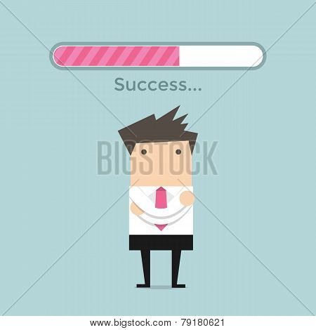 Businessman and success loading bar
