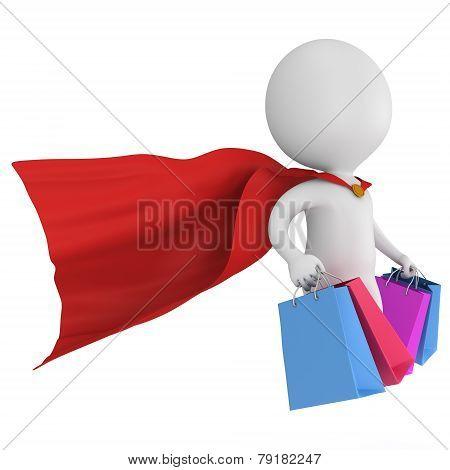 Brave Superhero Shopper With Red Cloak
