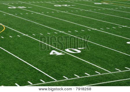 40 Yard Line On American Football Field