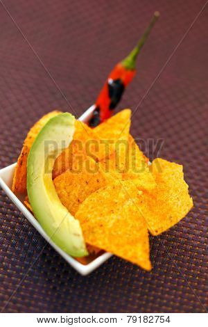 tortilla with chili and avocado