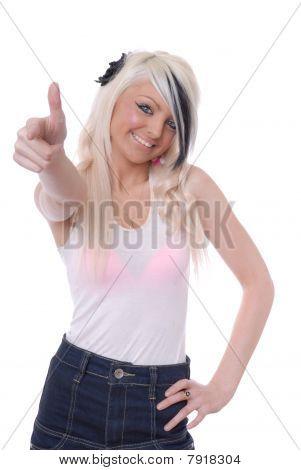 sexy blonde Mädchen mit Daumen hoch