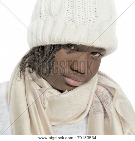 Sulky girl wearing a white cap, isolated