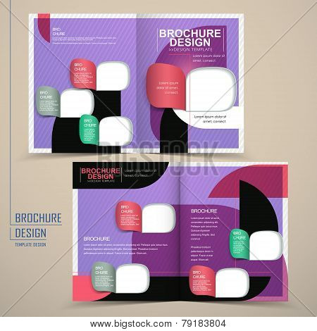Modern Half-fold Brochure Template Design In Purple