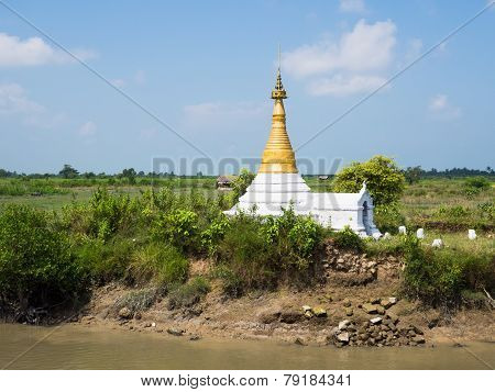 Small Pagoda Amid Rice Fields In Myanmar