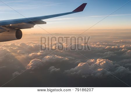 Wings Of Airplane In The Sky