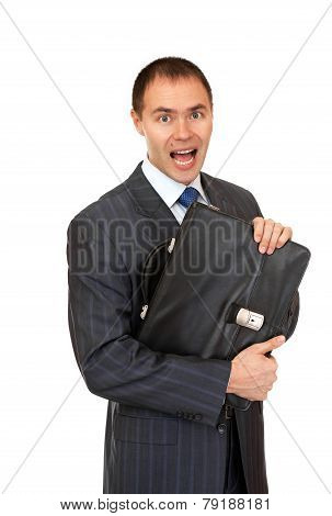 Joyful businessman with a briefcase.