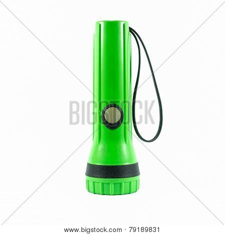 Green Plastic Torch Flashlight Isolated