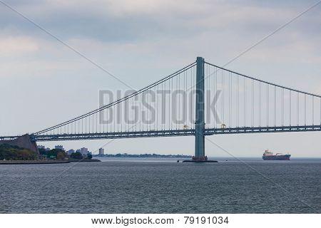 Verrazano Bridge On Cloudy Afternoon