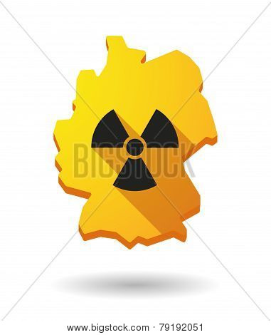 Germany Map Icon With A Radioactivity Sign
