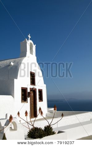 Greek Island Church Over The Caldera Oia Santorini Mediterranean